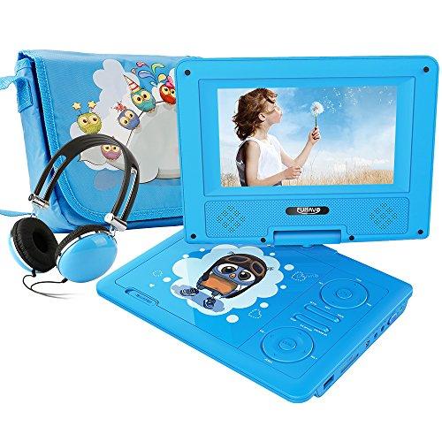 FUNAVO 7.5'' Tragbarer DVD-Player, Schwenkbaren Bildschirm, 5 Stunden Akku, Unterstützt SD-Karte und USB, mit Kopfhörer, Tragetasche, Auto-Ladegerät (Blau) (Tragbarer Dvd-player Blau)