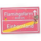 Einhorn Flamingo Kunststoff Schild, Ortsschild - Ortstafel rosa, süße Wanddeko, Deko Türschild Mädels-Wohnung, Mädchen-Zimmer, Geschenkidee Geburtstags-Geschenk, Lustige Überraschung - beste Freundin
