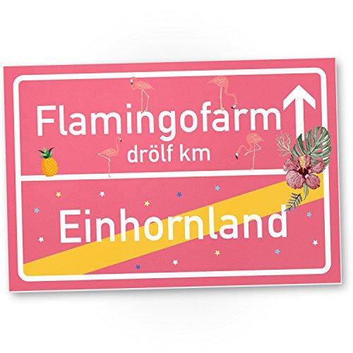 Einhorn Flamingo Kunststoff Schild, Ortsschild - Ortstafel rosa, süße Wanddeko, Deko Türschild Mädels-Wohnung, Mädchen-Zimmer, Geschenkidee Geburtstags-Geschenk, Lustige Überraschung - beste Freundin -