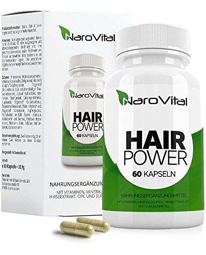 NaroVital Hair-Power - 2400 mcg Biotin, Zink, Selen, Hirse, OPC & Mehr! - Vegan - Hochdosiert - 60 Kapseln - Haar-Vitamine - Wertvolle Nährstoffe für Haare, Haut und Nägel (Beschleunigen Haarwuchs)