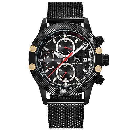 BENYAR Herren Sport Militäruhren Chronograph Kalender Uhren 3 ATM Wasserdicht Japanischen Quarz Mesh Band Armbanduhr für Männer