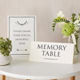 Angel & Dove Set of 2 Card Signs 'Memory Table' & 'Share Your Memories' - Ideal for Funeral Condolence Book, Memorial, Celebration of Life
