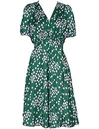 7623c9a9eda9 Florence Happy   England Verde Budding Hearts Seta Floreale Vintage tè  Vestito e Kate Middleton Style