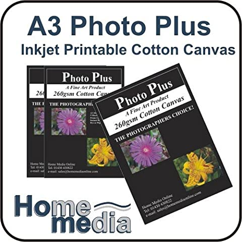 Home Media Photo Plus, A3 Inkjet Printable Cotton Canvas, Professional Grade White Artist Canvas - 5 Sheets of A3, 260gsm Polycotton Coated Inkjet Printable