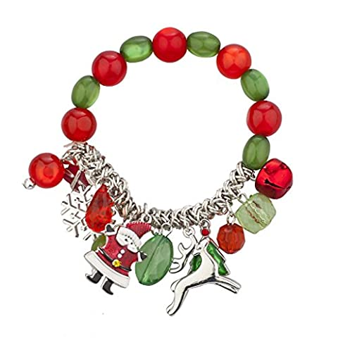 Lux Accessories SilverTone Christmas X-Mas Holiday Festive Beaded Charm