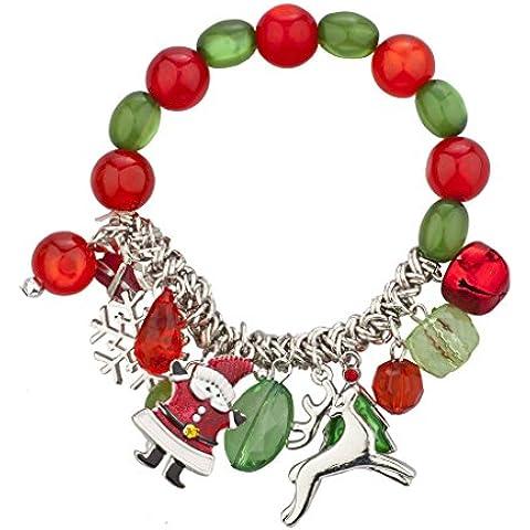 Lux accessori Silvertone Bracciale Ciondolo Vacanze di Natale natalizio