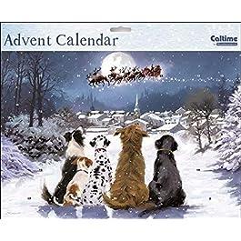 Calendario dell'Avvento (WDM0031) – Notte prima di Natale – Dogs Watching Santa – Glitter Verniciato