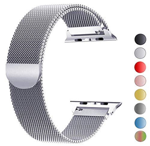 Tervoka Ersatzarmband kompatibel mit Apple Watch 44mm 42mm | Edelstahl Armband | Smartwatch Ersatzarmbänder mit Magnet kompatibel mit iWatch Series 5/4/3/2/1 Silber