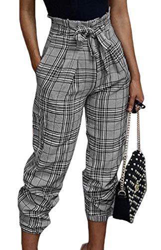 BingSai - Pantalones de Mujer Sexy con Cintura Alta, Sueltos, a Cuadros, Informales Gris Gris M
