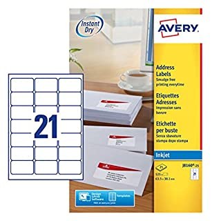 Avery J8160-25 Self-Adhesive Address/Mailing Labels, 21 Labels per A4 Sheet - White