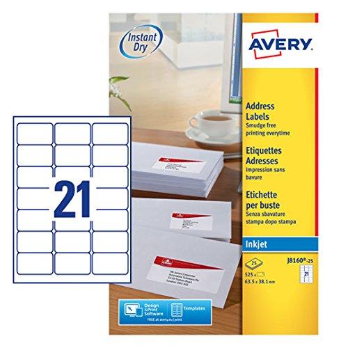 AVERY Zweckform J8160-25 Adress-Etiketten (A4, Papier matt, 525 Stück, 63,5 x 38,1 mm, 25 Blatt) weiß