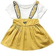 WensLTD Newborn Toddler Baby Girls Cute Rabbit Ear Heart Strap Casual Dress Clothes (18M, Yellow)
