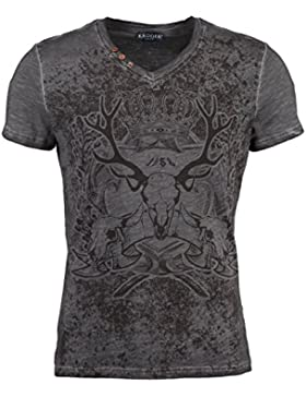 Krueger Buam Trachten-T-Shirt Hirschgeweih Grau
