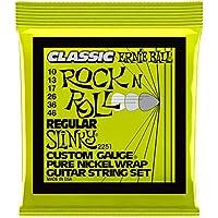 Ernie Ball Regular Slinky Classic Rock n Roll Cuerdas para guitarra eléctrica de puro níquel - Calibre 10-46