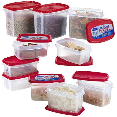 Primeway Modular Kitchen Food Storage Plastic Containers, 500ml, 750ml, 1 Litre, Set of 10 Pcs, Red