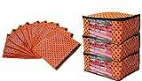 #8: Kuber Industries™ Saree Cover Combo 3 Pcs Set And Single Packing Saree Cover 12 Pcs Set (Orange)