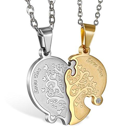 Oidea 2 Stück Edelstahl Pärchen Halsketten Silber Gold Puzzleanhänger Lebensbaum Gravur Love You Ketten mit Zirkonia Geschenke Für Damen Herren