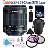 6Ave Canon EF-S 18-55mm F/3.5-5.6 Is STM Lens 8114B002 + 58mm 3 Piece Filter Kit + SD Card USB Reader + 32GB SDHC Class 10 Memory Card + Deluxe Starter Kit + Deluxe Lens Pouch Bundle