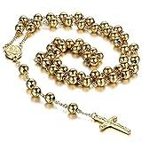 Moda Mavilla Collana unisex a rosario, in acciaio inox, ispirata alla tradizione cristiana e cattolica, con ciondolo a forma di crocifisso e catena con perline, colore: oro