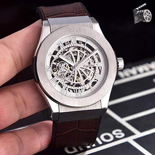 DMSGBZL New Men Automatic Mechanical Watch Silber Schwarz Grau Titan Edelstahl Leder Saphir Silber Braun