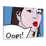 Kunstdruck - Pop-Art Oops Frau - Bild auf Leinwand - 120x90 cm - Leinwandbilder - Urban & Graphic - Andy Warhol - Retro - Comic