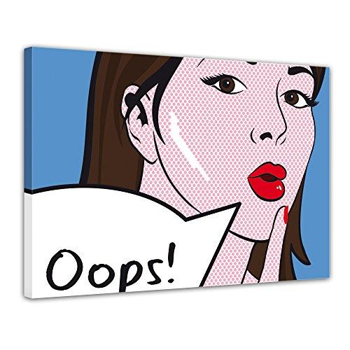 (Kunstdruck - Pop-Art Oops Frau - Bild auf Leinwand - 80x60 cm 1 teilig - Leinwandbilder - Urban & Graphic - Andy Warhol - Retro - Comic)
