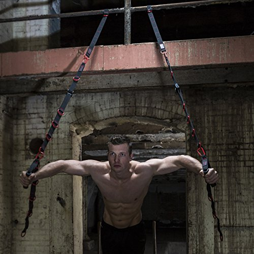 Marcy-Unisexs-Cross-Fit-Suspension-Trainer-with-Strap-HandlesOlympic-Rings-and-Foot-Loops-Blackred-One-Size