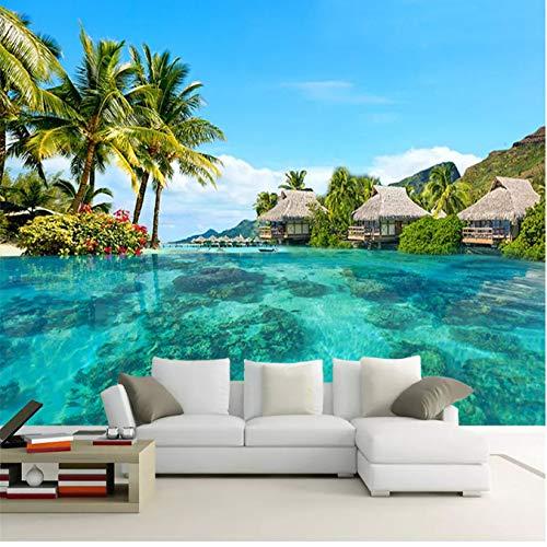 Benutzerdefinierte 3D Foto Mural Tapete Hd Malediven Meer Strand Natürliche Landschaft Fotografie Wohnzimmer Tv Hintergrund Home Decor1㎡ (100X100 Cm) (Welt Der Wall Mural)
