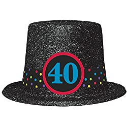 The Party Continuous 40th Birthday Party Glittered Top Hat , Black , 4 1/4