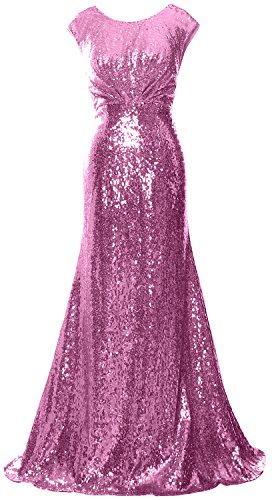 MACloth Women Long Bridesmaid Gown Cap Sleeve Sequin Formal Party Evening Dress Rosa