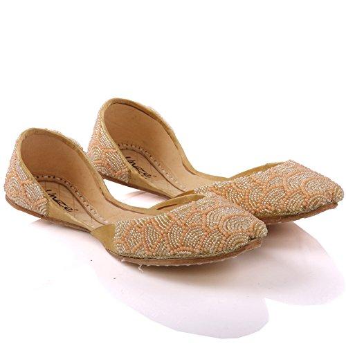 Unze Cuir plat indien khussa Chaussures Jodie 'Girls Or