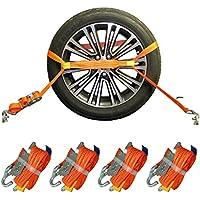 4x Spanngurt AUTO TRANSPORT Zurrgurt Radsicherung PKW KFZ Trailer Reifengurt (21)