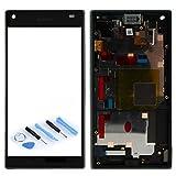 Sony Display Full LCD Komplettset mit Rahmen Touchscreen Glas Scheibe Ersatzteil Zubehör Reparatur Schwarz für Xperia Z5 Compact E5803 E5823 + Werkzeug Opening Tool