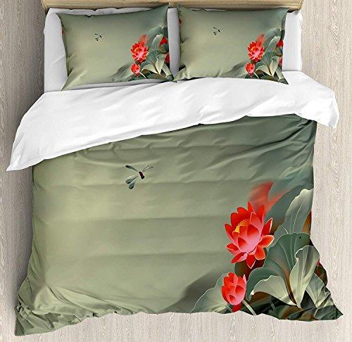 Dragonfly 3-teiliges Bettwäscheset Bettbezug-Set, traditionelles japanisches Gemälde mit Lotusblüten in dunstigen asiatischen Farbtönen, 3-tlg. Tröster- / Qulitbezug-Set mit 2 Kissenbezügen, Rot, Rese -