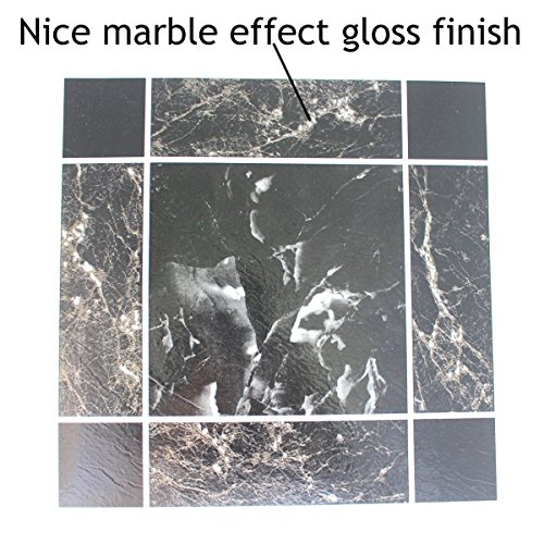 24Vinyl Boden Fliesen: Schwarz/Grau Marmor selbstklebend NEU