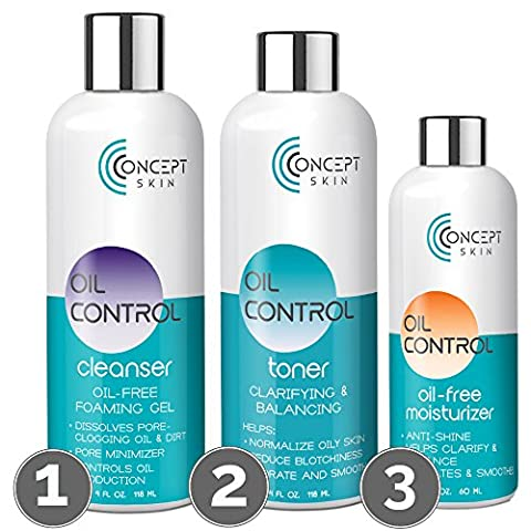 Oil Control Acne Kit - Oil Free Clarifying Cleanser, Balancing Toner & Anti Acne Mattifying Moisturiser – Organic Ingredients - Oily Skin, Blemish, Hormonal & Cystic Acne Treatment For Adults & Teens - 30 Day Set - CONCEPT SKIN