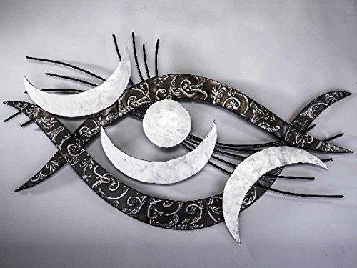 Preisvergleich Produktbild Extravagante Wanddeko aus Metall Metallbild Auge Perlmutt natur weiß 94 x 48 cm B-Ware