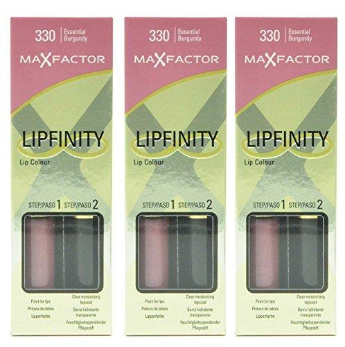 3 x Max Factor Lipfinity - 330 Essential Burgundy 1 Count