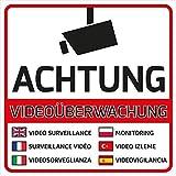 10 Videoüberwachung Aufkleber Videoüberwachung (10 Stück) 105 x 105 mm vorgestanzt Videoüberwacht Aufkleber mehrsprachig Sticker Kameraüberwachung Hinweisschild Videoüberwacht Warnschild Video