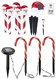 Lunartec Solar Weihnachtsdeko: Solar-LED-Gartenstecker Weihnachtsmann & Zuckerstangen im 8er-Set (LED-Gartenstecker Weihnachten)