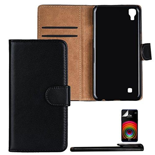 4in1 PREMIUM Wallet Hülle in Schwarz für - LG X Power - Schutzhülle Case Etui Cover im Portemonnaie Bookstyle / Flip Tasche mit Kartenfach und Standfunktion + Touchpen, Schutzfolie und Tuch