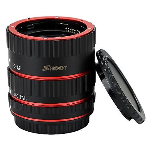 SHOOT AF Kit de tube de rallonge pour macro pour Canon EOS EF EF-S Objectif DSLR 1100D 700D 650D 600D 550D 500D 450D 400D 350D 300D 100D 70D