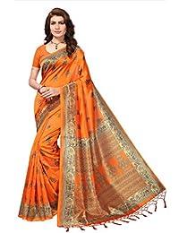 Fabwomen Sarees Kalamkari Orange And Orange Coloured Mysore Silk With Tessals Fashion Party Wear Women's Saree...