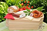 9 x Premium Thick 50 cm/15 mm Classic Picnic Wooden Board with Two Side Handles Beech Natural/9x, Measure Approx. 50 cm x 29 cm Square Bruschetta Serving Board, Bavarian Bread Board Frame Solid Cutting Boards Buffet and Breakfast Boards Lunch Picnic Lunch (Set of 6 BTV – Wild – BOARD, Wildbret