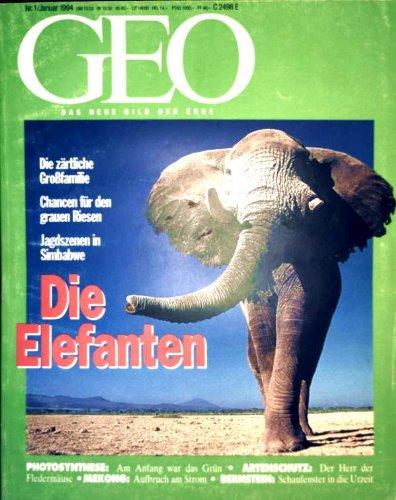 GEO Magazin 1994, Nr. 01 Januar - Die Elefanten, Jerusalem, Photosynthese, Mekong, Tuttle-Portrait, Bernsteinforschung