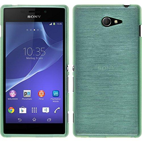 PhoneNatic Case kompatibel mit Sony Xperia M2 - grün Silikon Hülle Brushed + 2 Schutzfolien