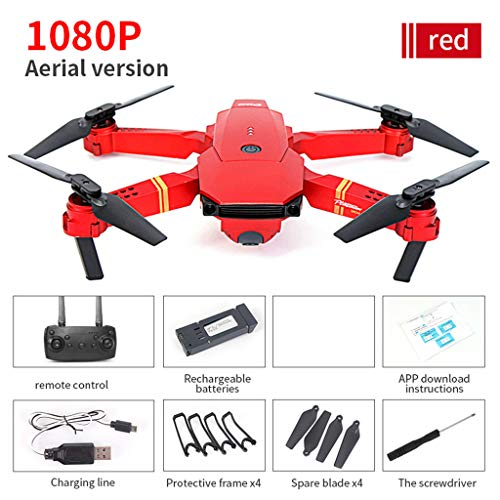 Hunpta@ Drohne, E58 2.4Ghz 4CH 720P/1080P Weitwinkel Kamera WiFi FPV Live Video Mobile App Steuerung Faltbare Drohne Selfie Pocket RC Quadcopter Hubschrauber (1080P)