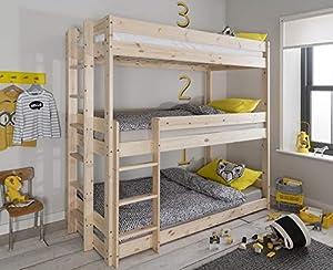 Henrik Triple Bed Bunk Triple Sleeper in Natural Pine