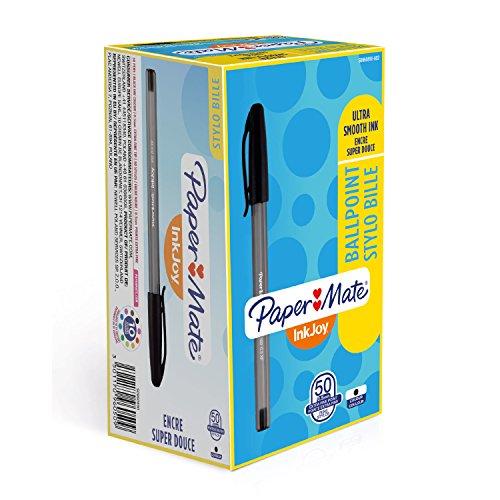 Paper Mate Inkjoy 100 - Penne a sfera con tappo, super fini, confezione da 50 pezzi, colore: Nero