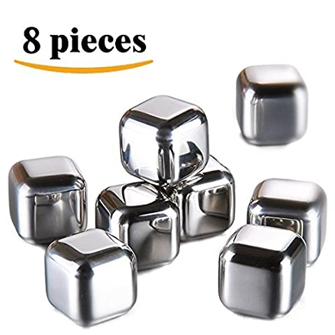 LEasylife Edelstahl Eiswürfel 8 Wiederverwertbaren Whisky Steine Ice Cubes Set